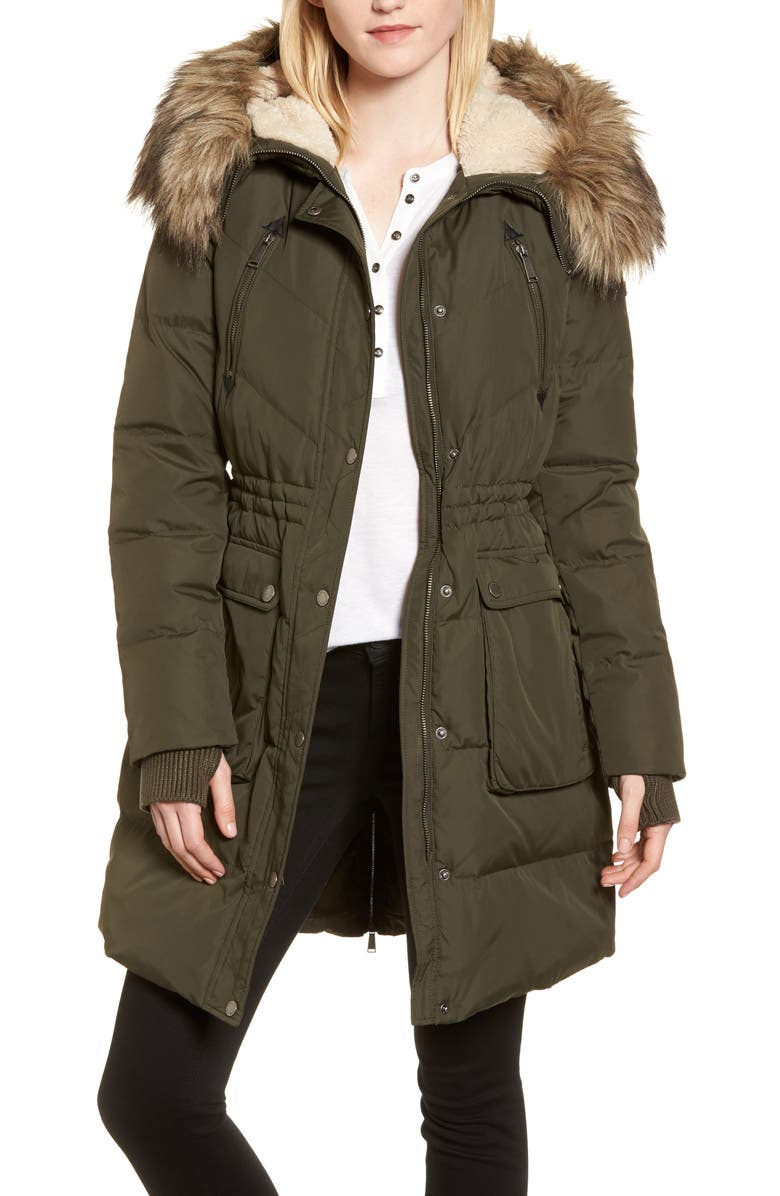 BCBGENERATION Down & Feather Fill Parka with Faux Fur Trim, Main, color, 344