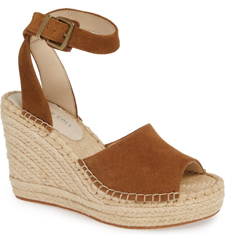 KENNETH COLE NEW YORK Olivia Wedge Sandal, Main, color, NUTMEG SUEDE