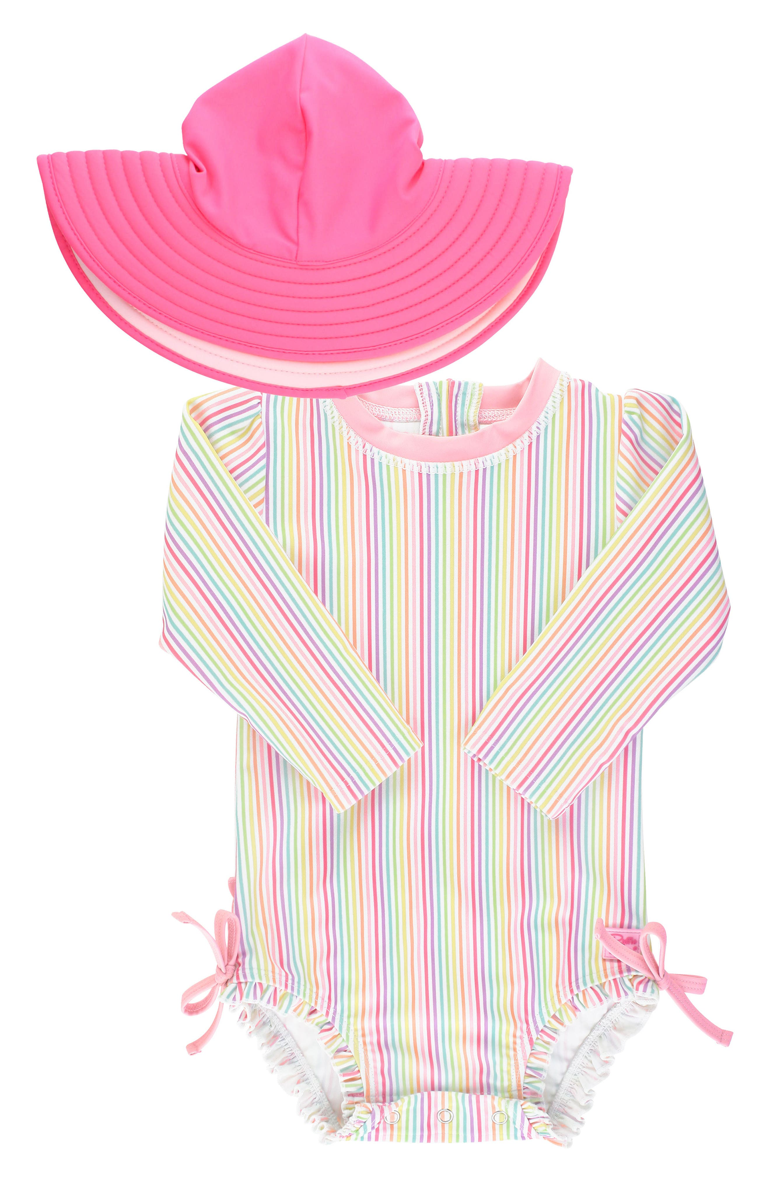 Bright stripes and signature ruffles make this UV-blocking one-piece a beachy fave, while the matching floppy hat adds an extra dose of protective charm. Style Name: Rufflebutts Rainbow Stripe One-Piece Rashguard Swimsuit & Floppy Sun Hat Set (Baby). Style Number: 6027632. Available in stores.