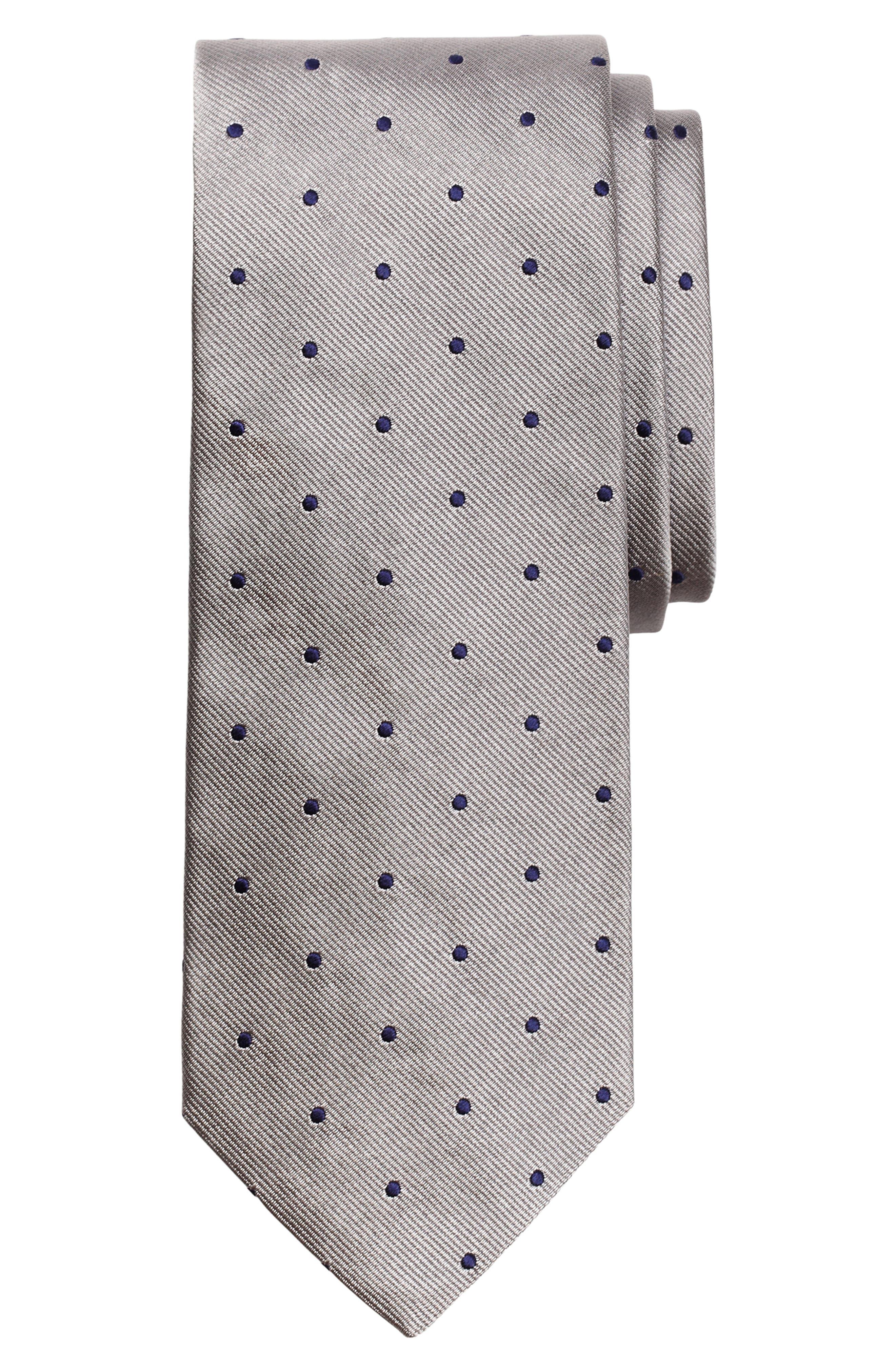 Small Dot Silk Tie, Main, color, SILVER