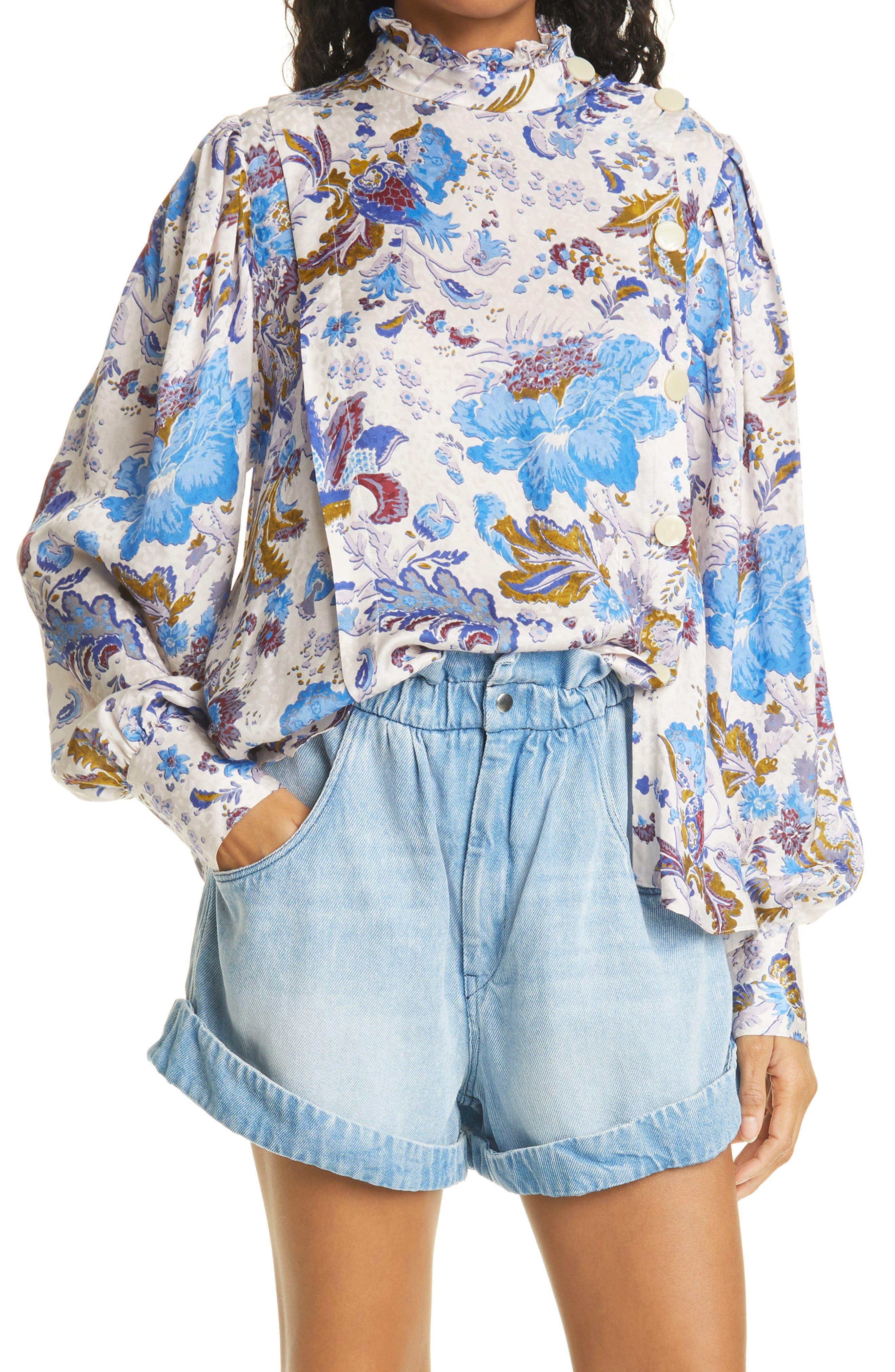 Women's Isabel Marant Etoile Floral Long Sleeve Blouse