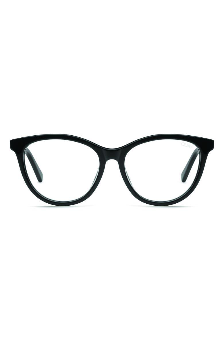 QUAY AUSTRALIA All Nighter 50mm Blue Light Blocking Optical Glasses, Main, color, BLACK/ CLEAR BLUE LIGHT