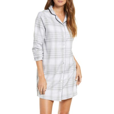 Hanro Edda Long Sleeve Flannel Nightshirt, Grey