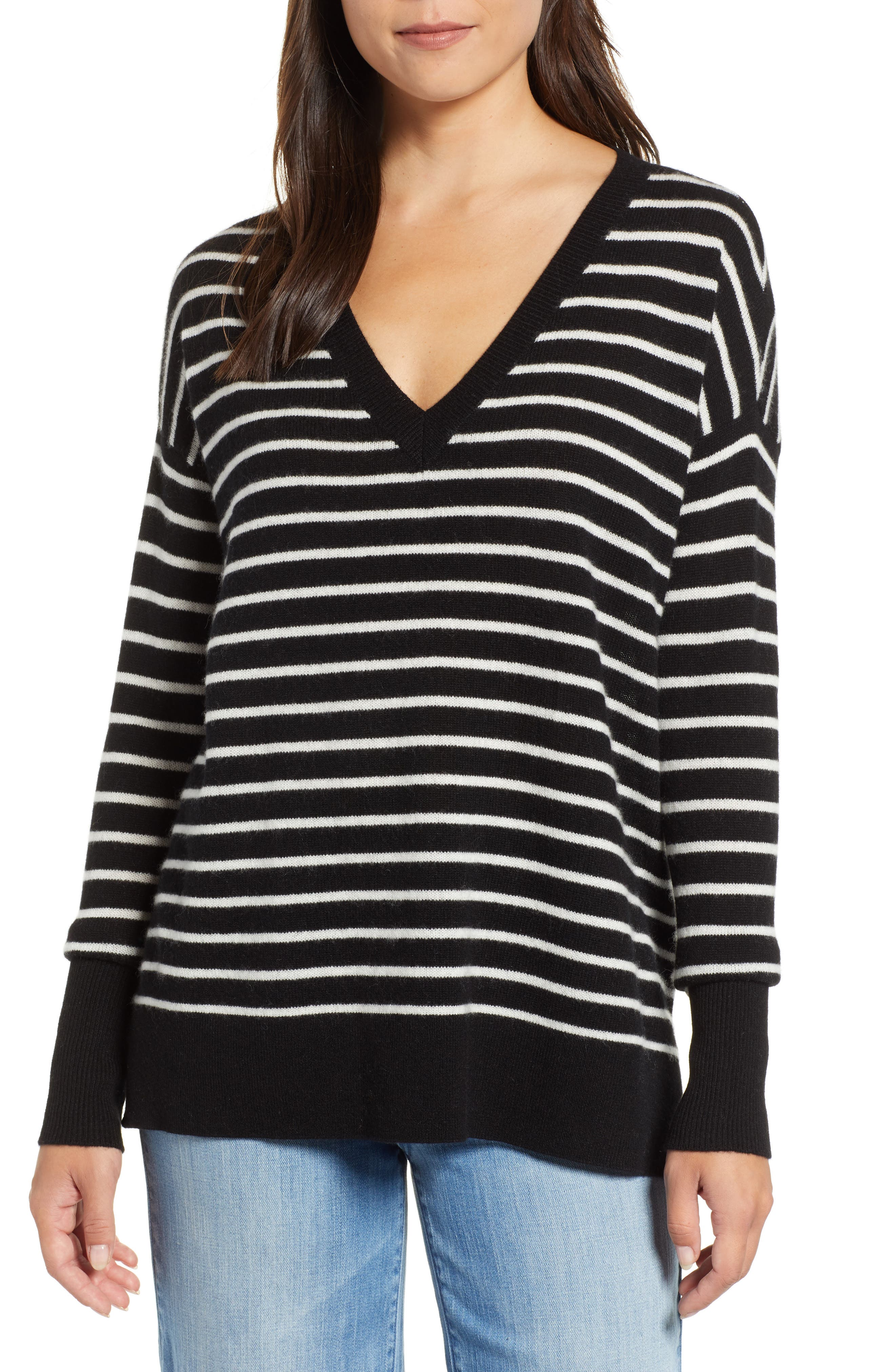 ,                             Relaxed V-Neck Cashmere Sweater,                             Main thumbnail 15, color,                             002