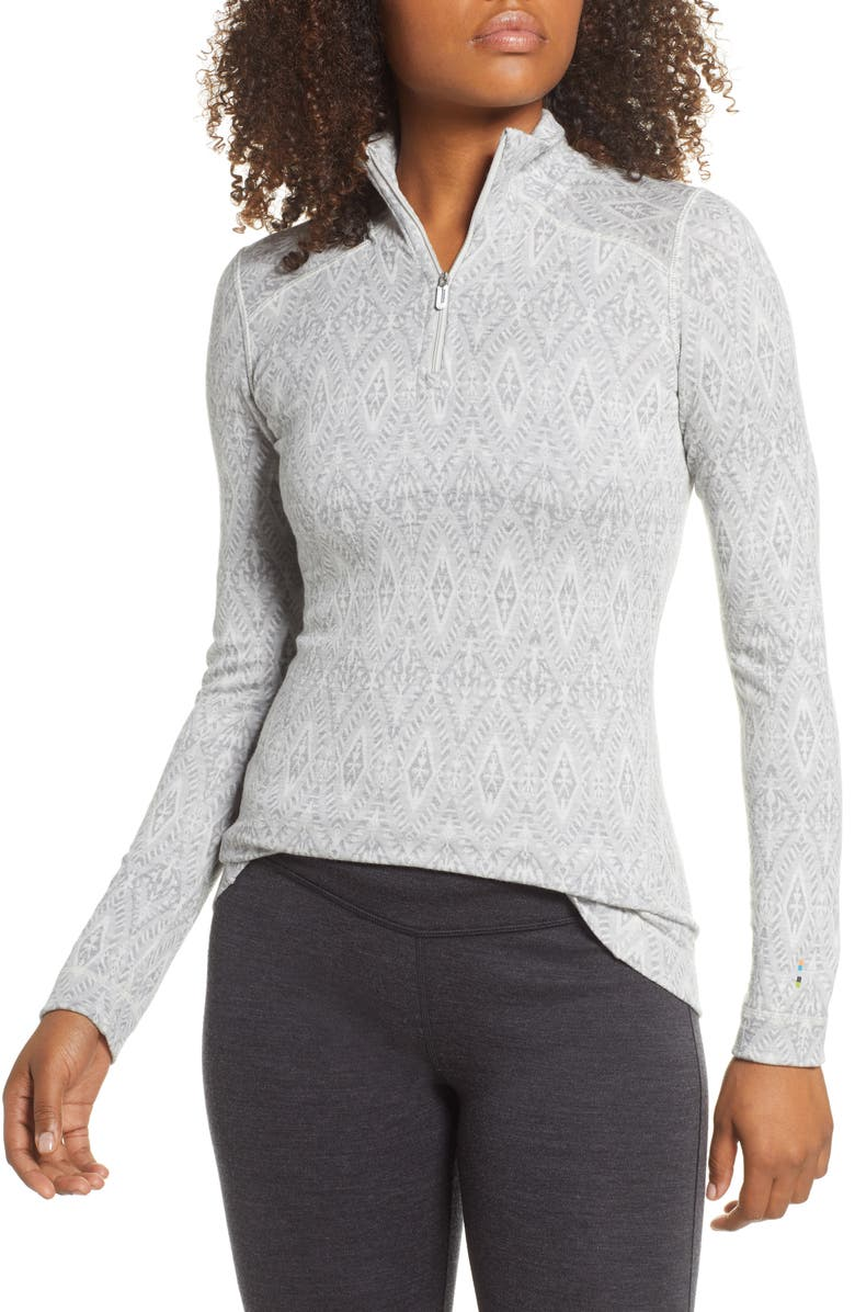 SMARTWOOL Merino 250 Patterned Base Layer Quarter Zip Top, Main, color, 020