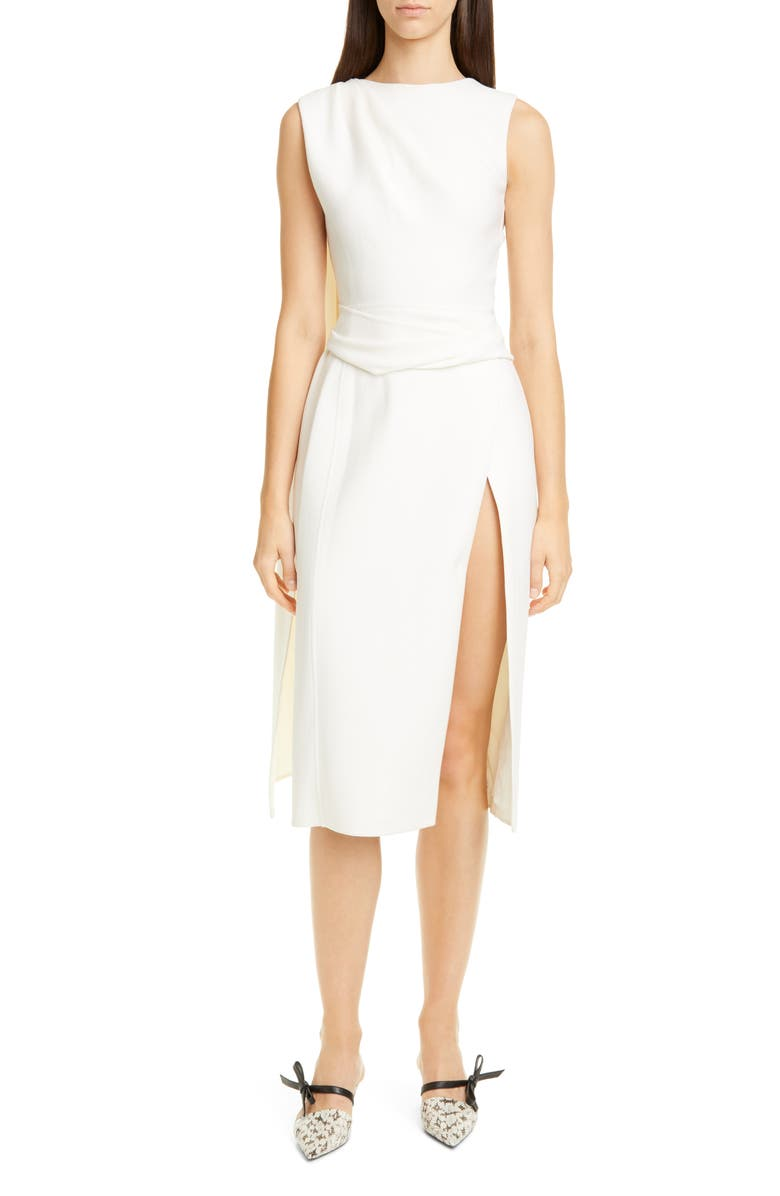 OSCAR DE LA RENTA Sash Back Wool Blend Midi Dress, Main, color, 100
