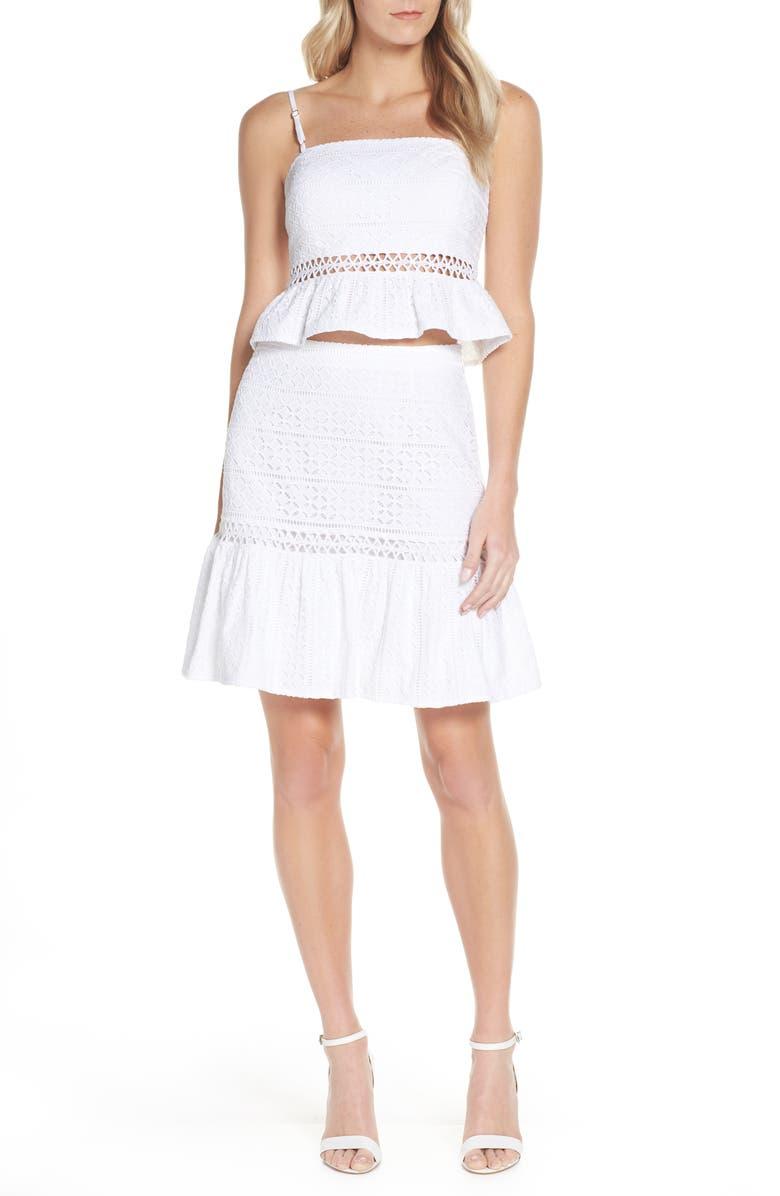 LILLY PULITZER<SUP>®</SUP> Jan Peplum Crop Top & Skirt Set, Main, color, RESORT WHITE STRIPED EYELET