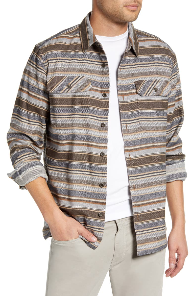 PATAGONIA 'Fjord' Regular Fit Organic Cotton Flannel Shirt, Main, color, FOLK DOBBY BRISTLE BROWN