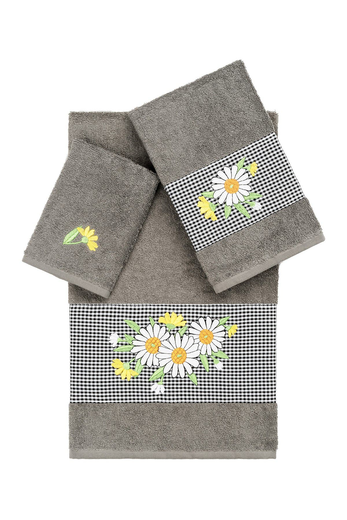 Image of LINUM HOME Daisy 3-Piece Embellished Towel - Dark Gray