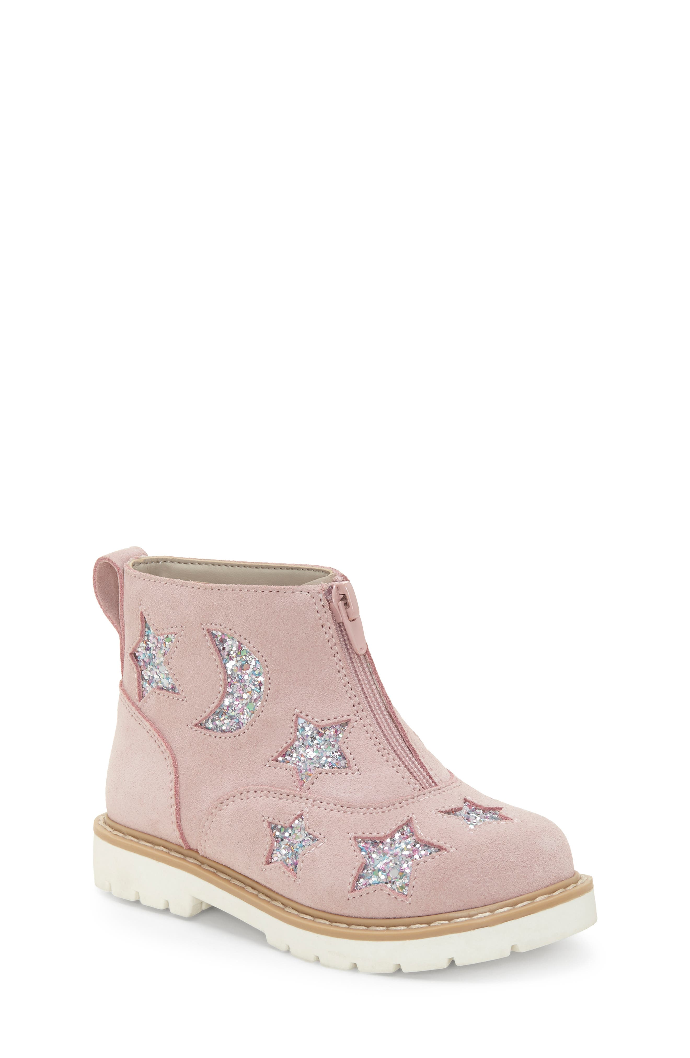,                             Aisha Glittery Front Zip Bootie,                             Main thumbnail 1, color,                             FAIRY PINK/ SILVER