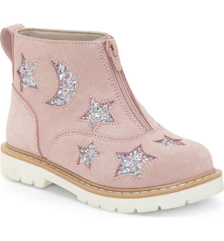 SOLE PLAY Aisha Glittery Front Zip Bootie, Main, color, FAIRY PINK/ SILVER