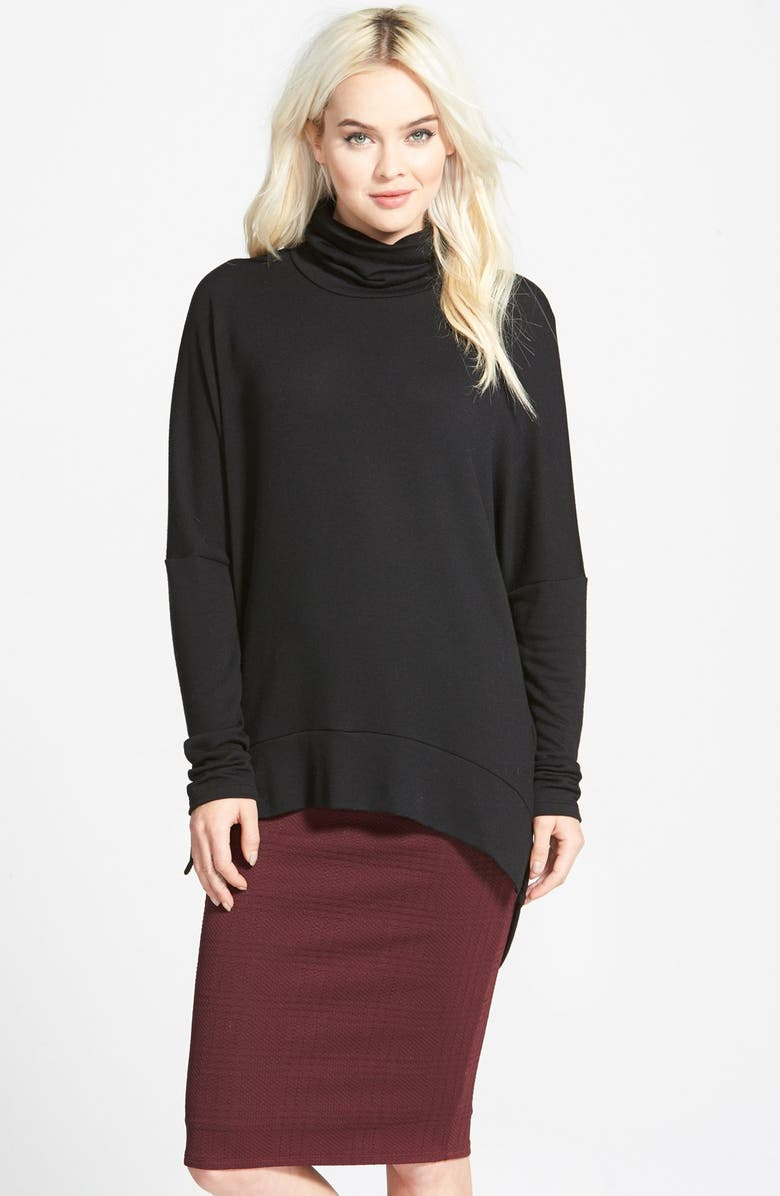 MADISON & BERKELEY Oversize Turtleneck Tunic, Main, color, 001