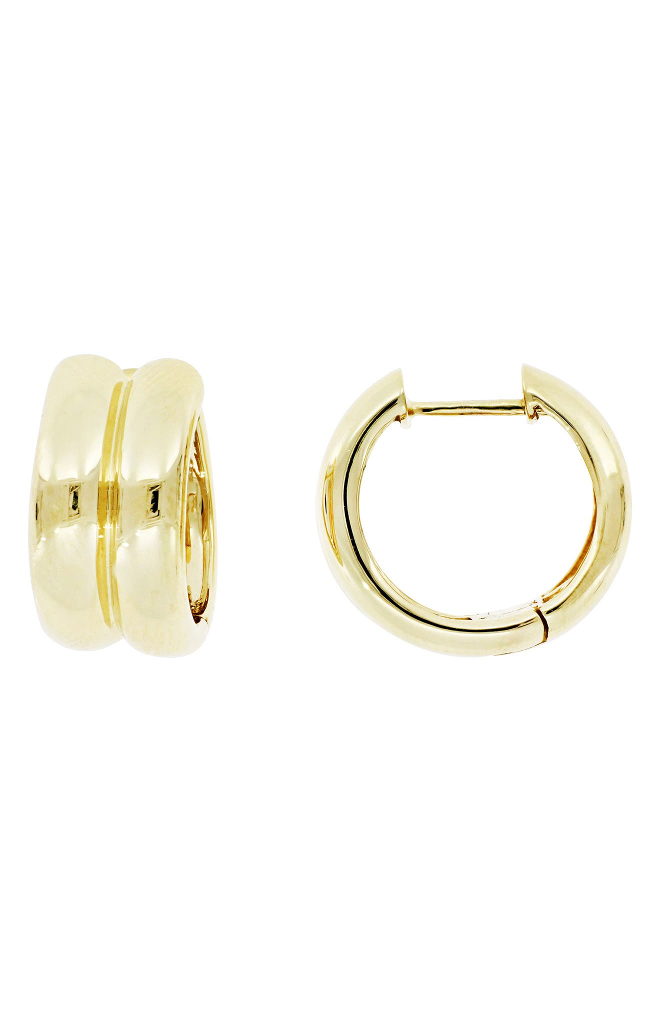Double Wide Huggie Hoop Earrings, Main, color, 710