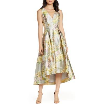 Eliza J Floral Jacquard High/low Cocktail Gown, Beige