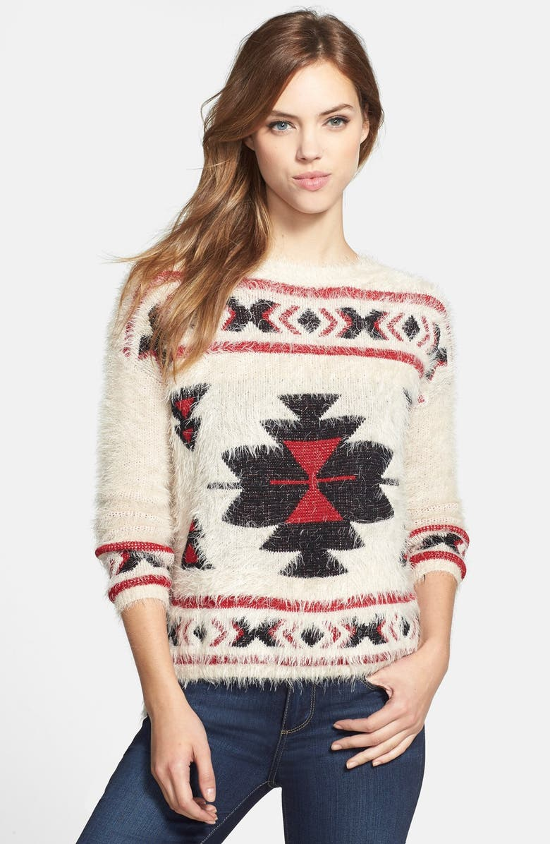 EVERLEIGH Aztec Print Fuzzy Sweater, Main, color, 260