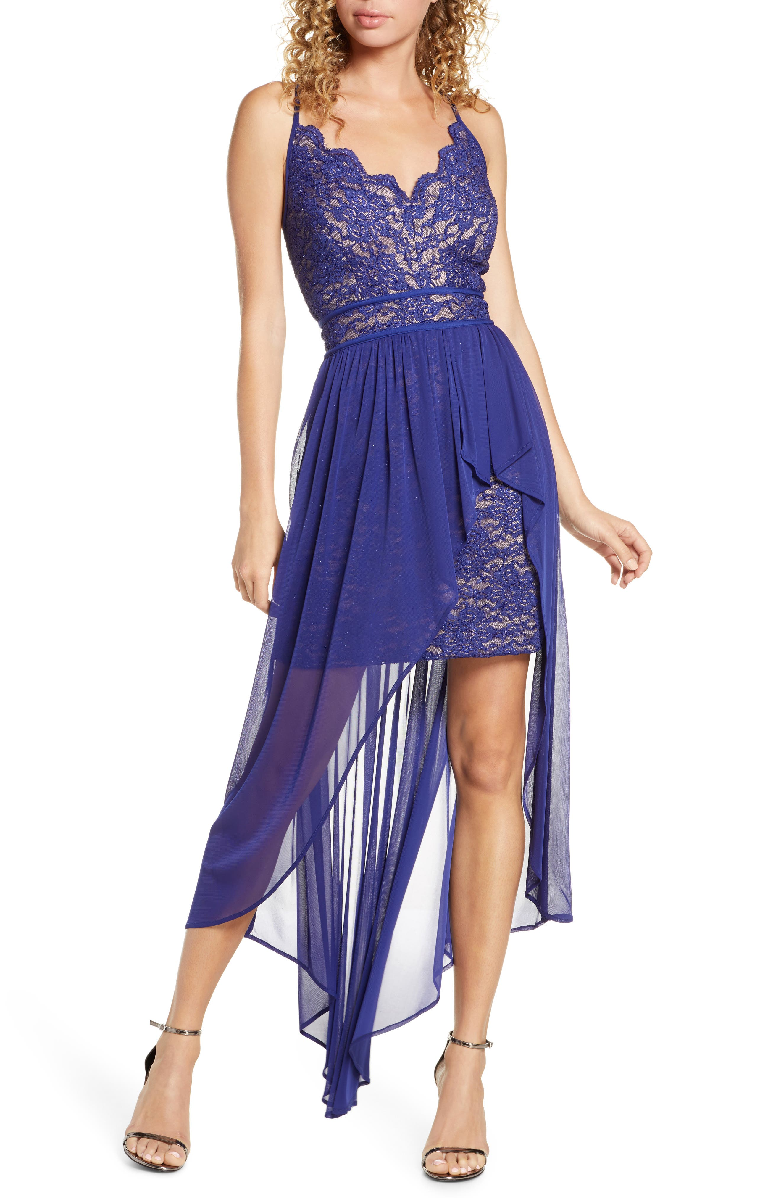 Morgan & Co. Scallop Lace Bodice High/low Gown, Blue