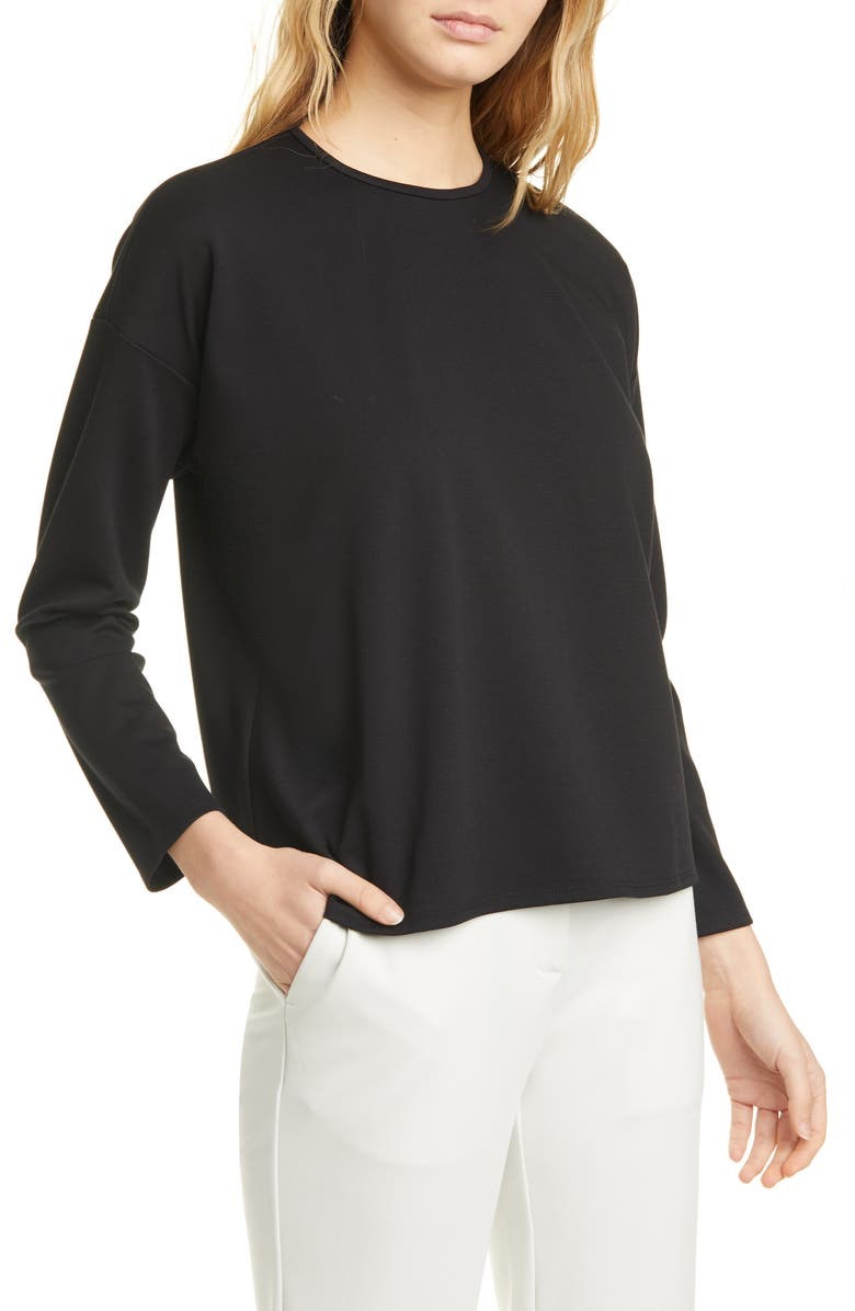 EILEEN FISHER Boxy Crewneck Top, Main, color, BLACK