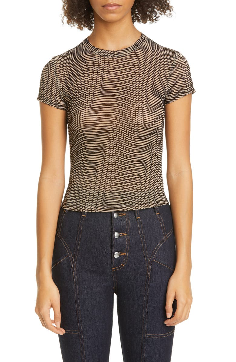 ECKHAUS LATTA Velvet Burnout Print T-Shirt, Main, color, OPTIC WARP
