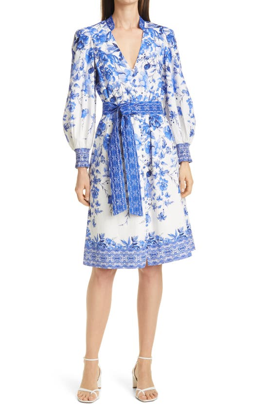 Alice And Olivia Midi dresses SHANLEY FLORAL LONG SLEEVE BELTED DRESS