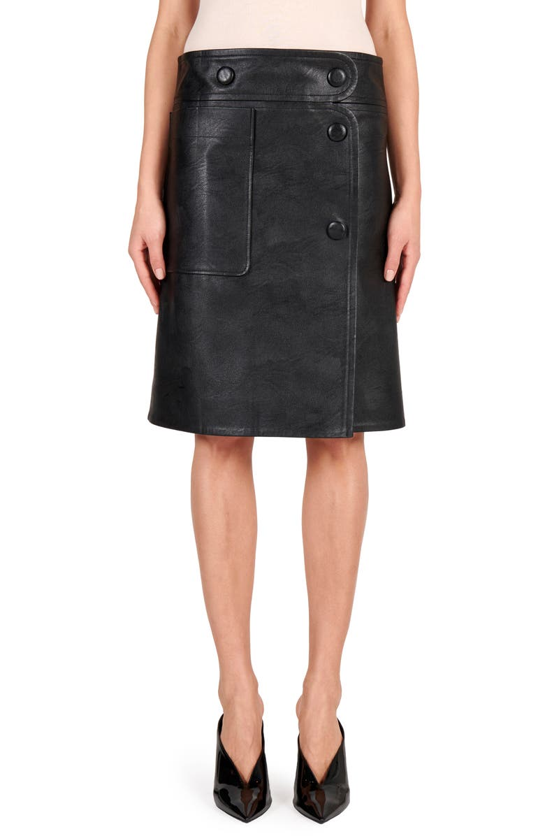STELLA MCCARTNEY Carly Faux Leather Skirt, Main, color, BLACK