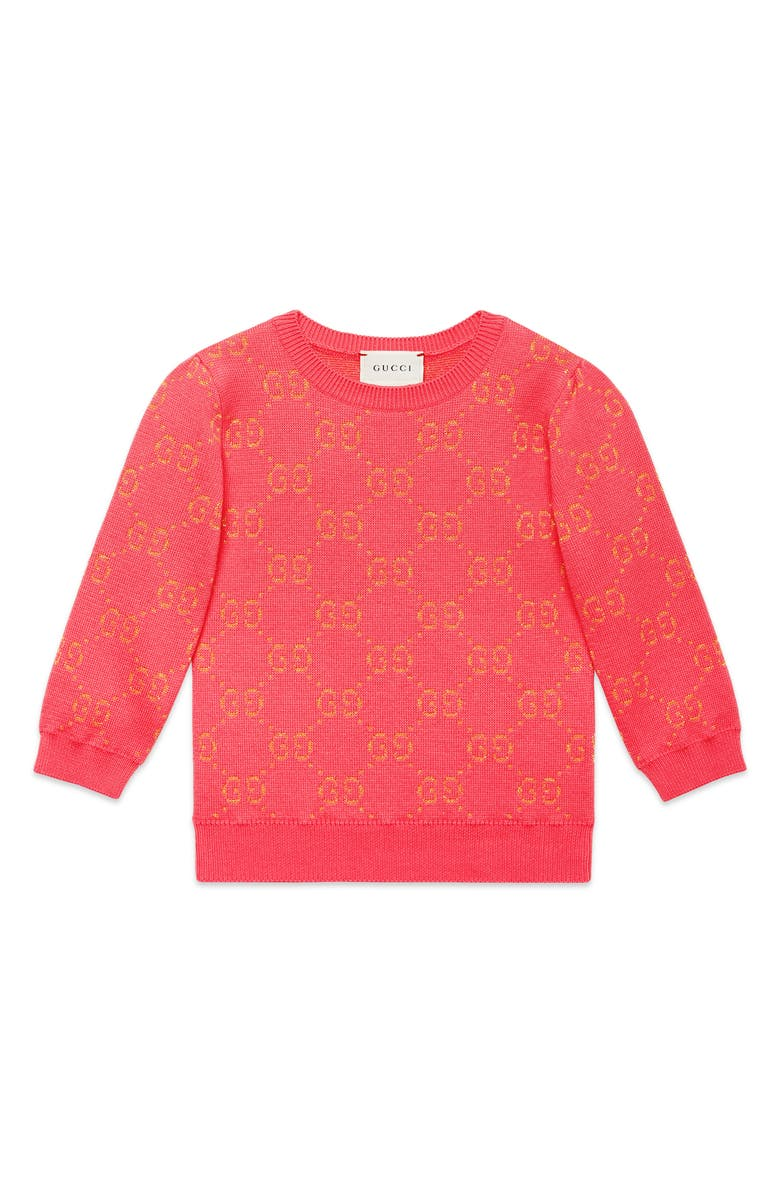 GUCCI Metallic Logo Jacquard Sweater, Main, color, HOT PINK/ GOLD