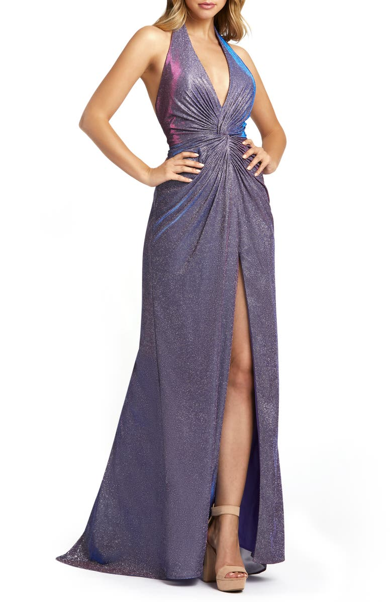 MAC DUGGAL Sparkle Metallic Halter Prom Dress with Train, Main, color, LAVENDER TWINKLE