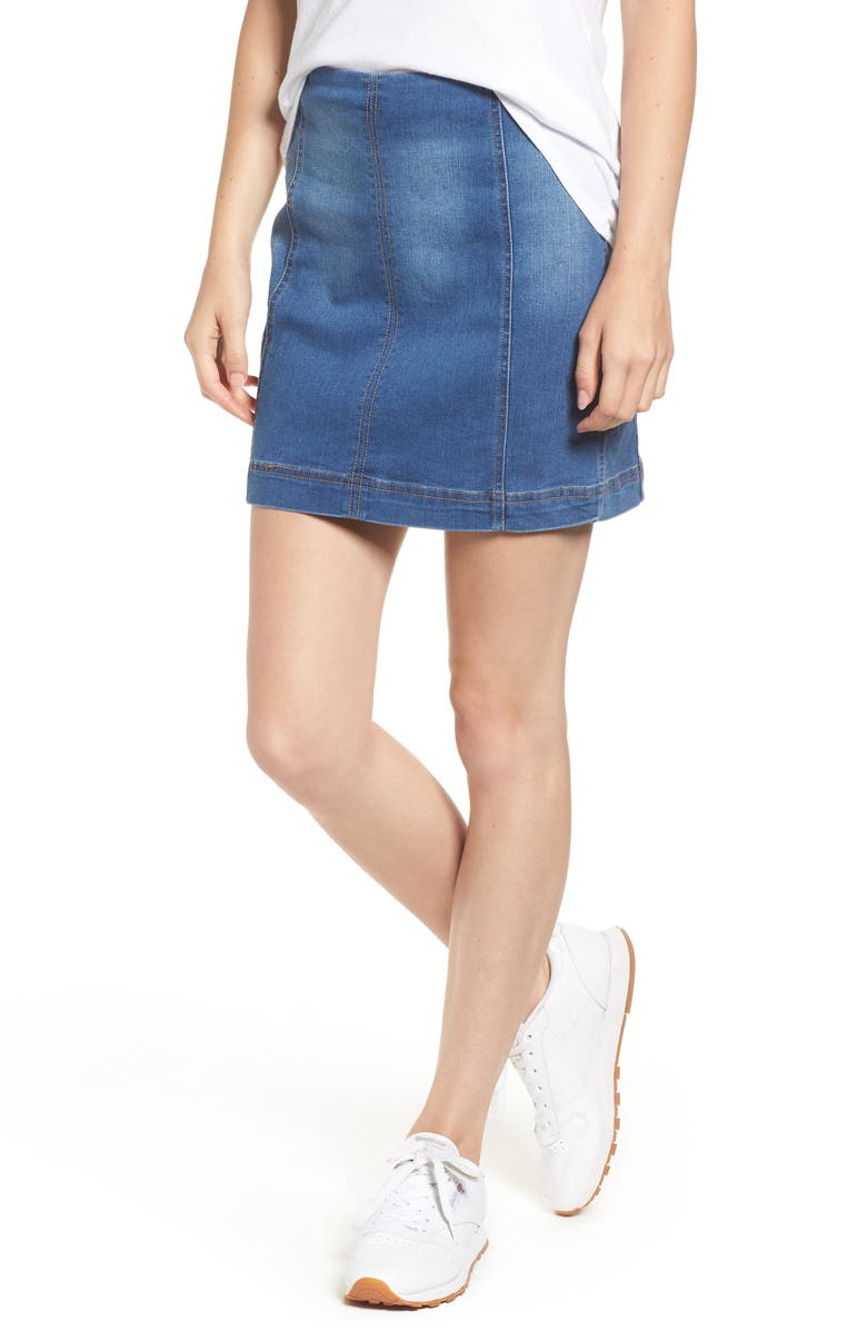 TINSEL Denim Miniskirt, Main, color, MEDIUM WASH
