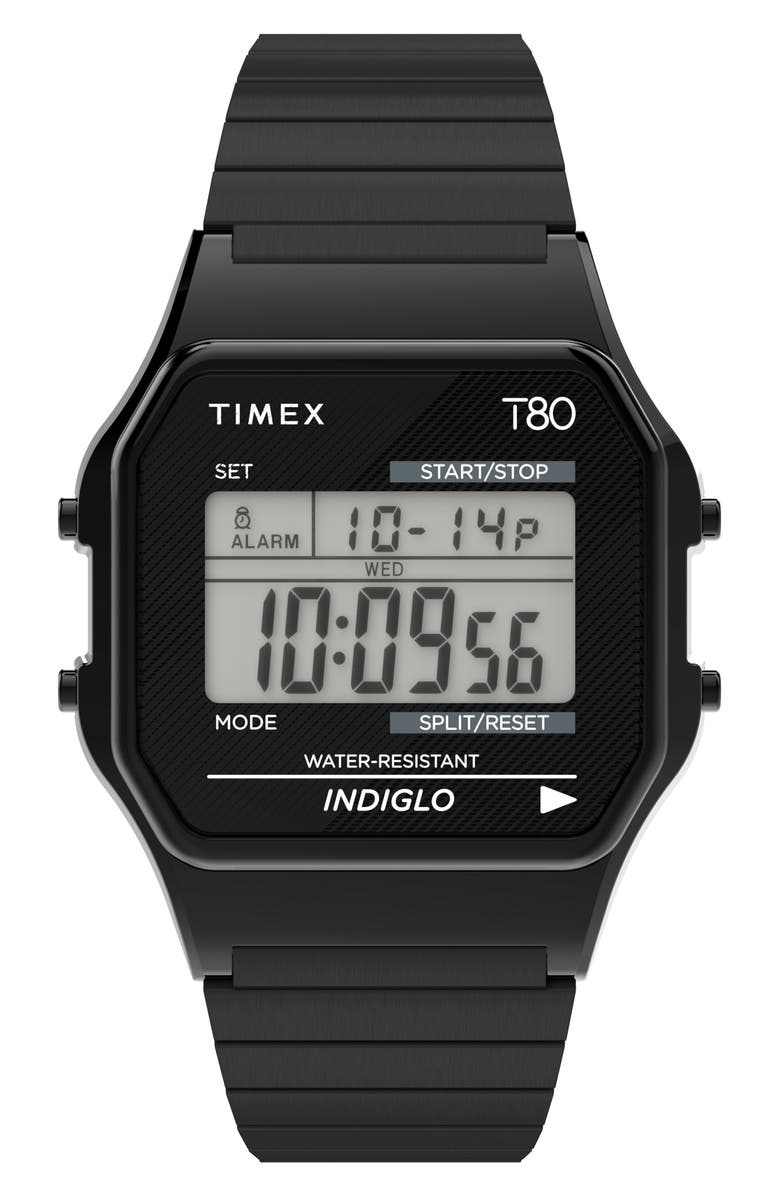 TIMEX<SUP>®</SUP> T80 Digital Expansion Band Watch, 34mm, Main, color, BLACK