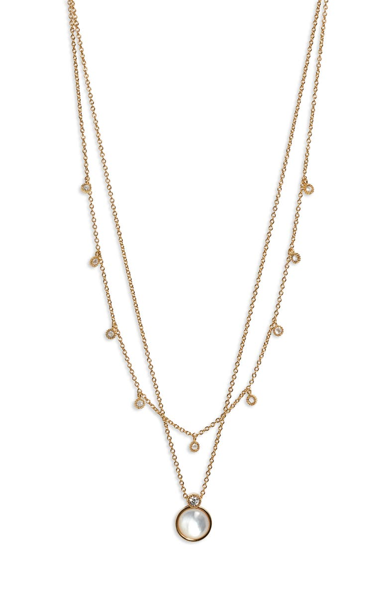 GORJANA Eloise Layered Stone Pendant Necklace, Main, color, GOLD/ MOTHER OF PEARL
