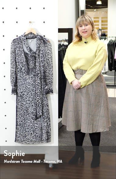 Tommy x Zendaya Leopard Tie Neck Long Sleeve Midi Dress, sales video thumbnail