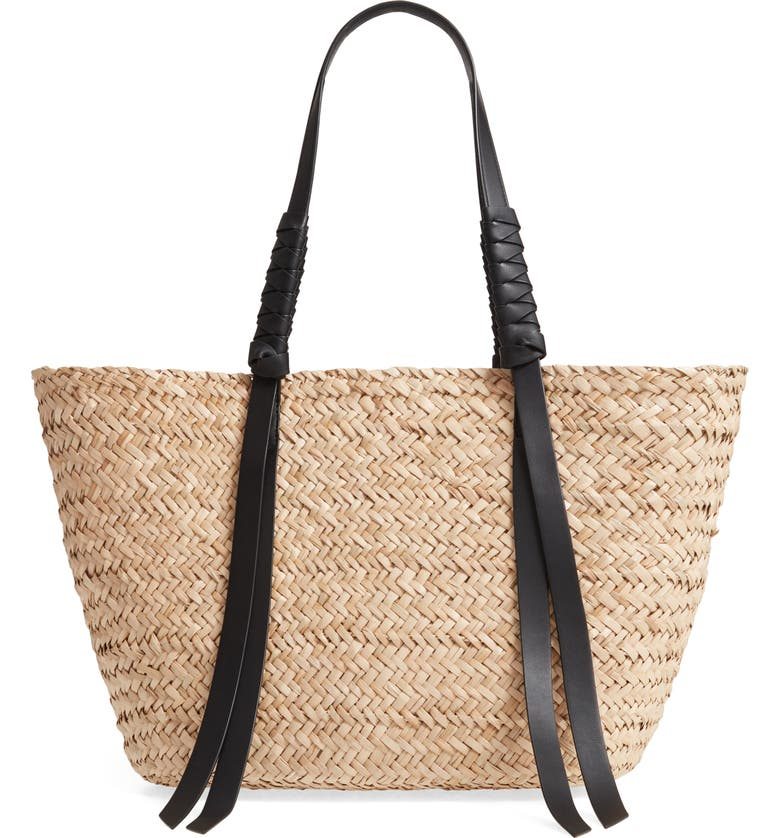ALLSAINTS Playa East/West Woven Straw Beach Tote, Main, color, NATURAL