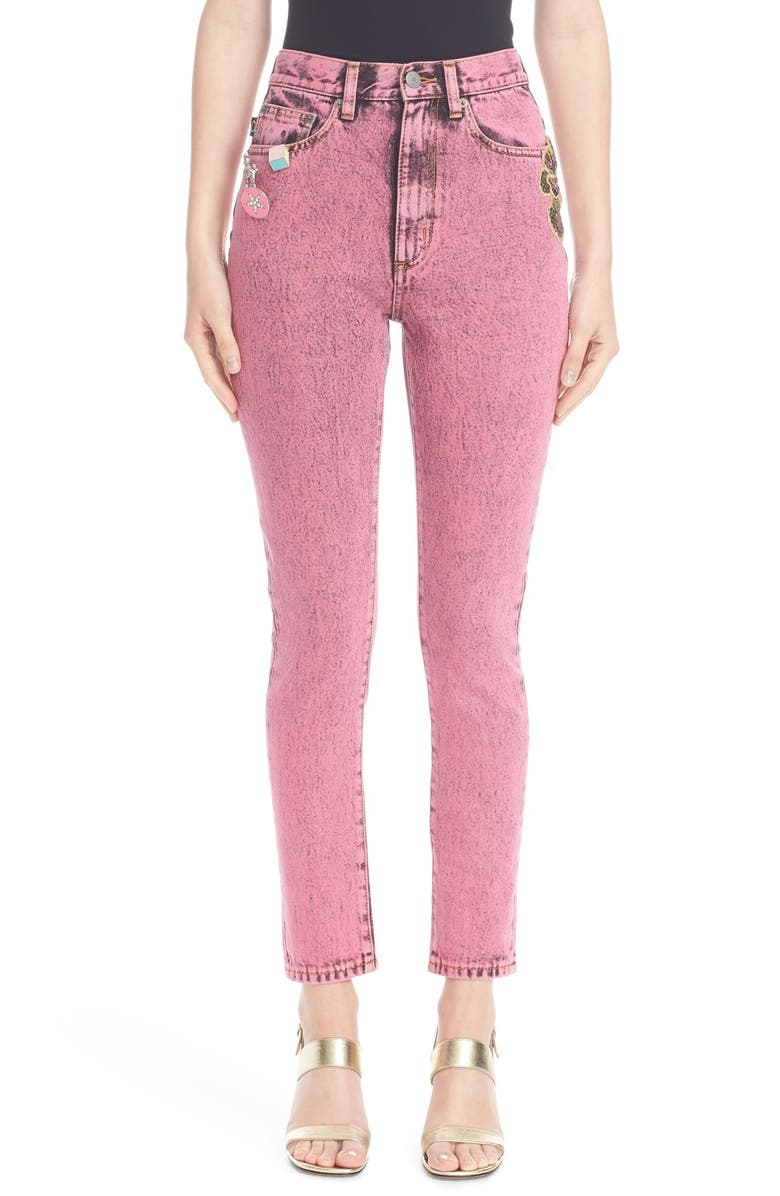 MARC JACOBS Overdyed Bleach Crop Jeans, Main, color, BRIGHT PINK