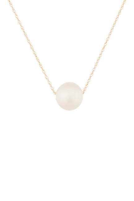 Image of Splendid Pearls White 10-11mm Freshwater Pearl 14K Rose Gold Pendant Necklace