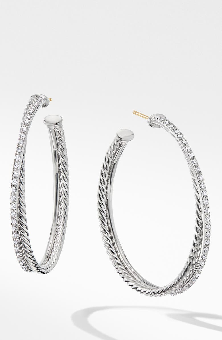 DAVID YURMAN Extra Large Crossover Hoop Earrings with Diamonds, Main, color, SILVER/ DIAMOND