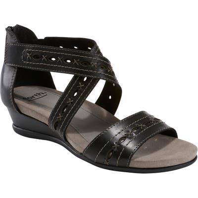 Earth Hyannis Wedge Sandal, Black