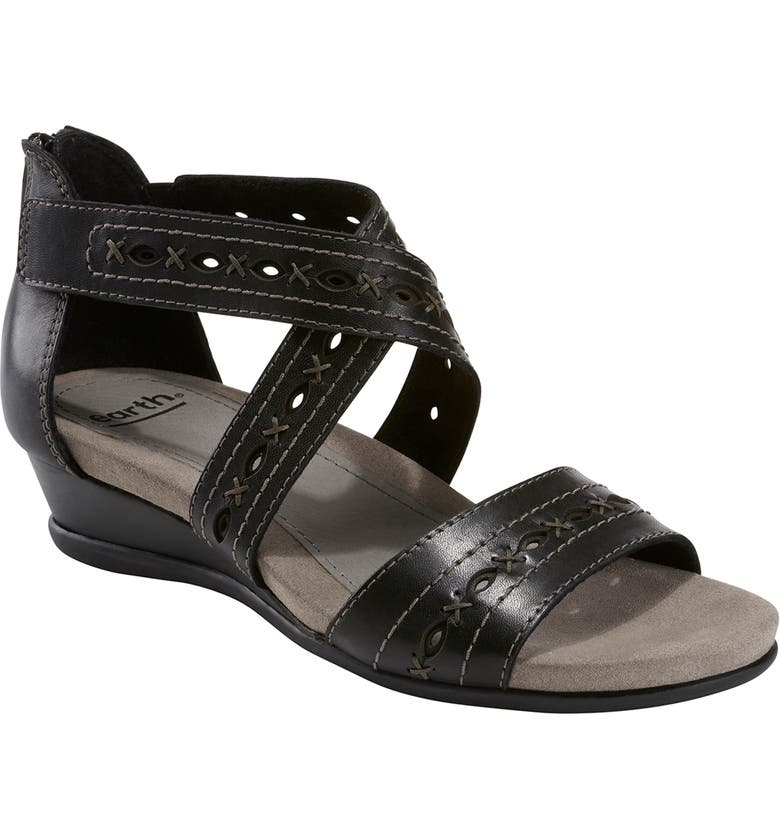 EARTH<SUP>®</SUP> Hyannis Wedge Sandal, Main, color, BLACK LEATHER