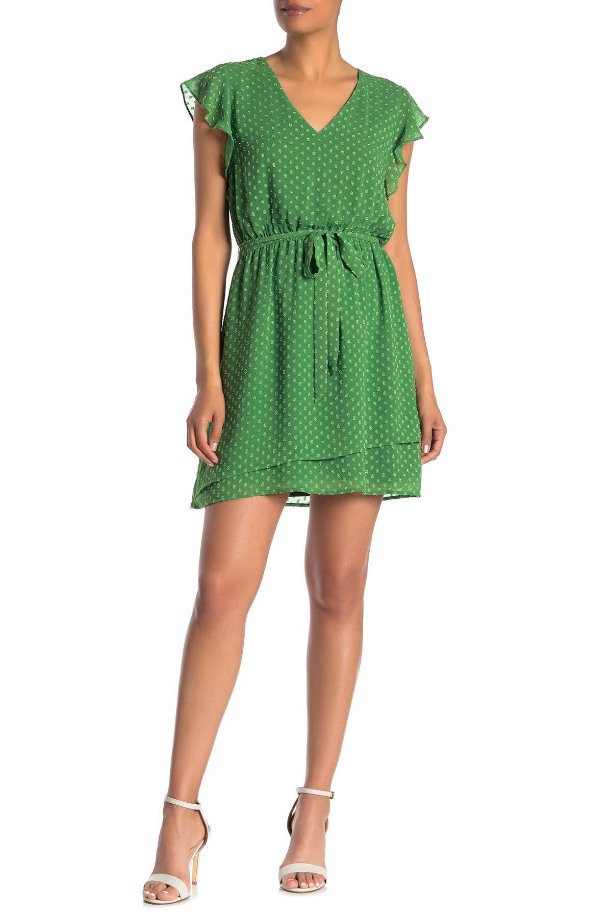Image of DR2 by Daniel Rainn Flutter Sleeve Micro Clip Dot Belted Dress