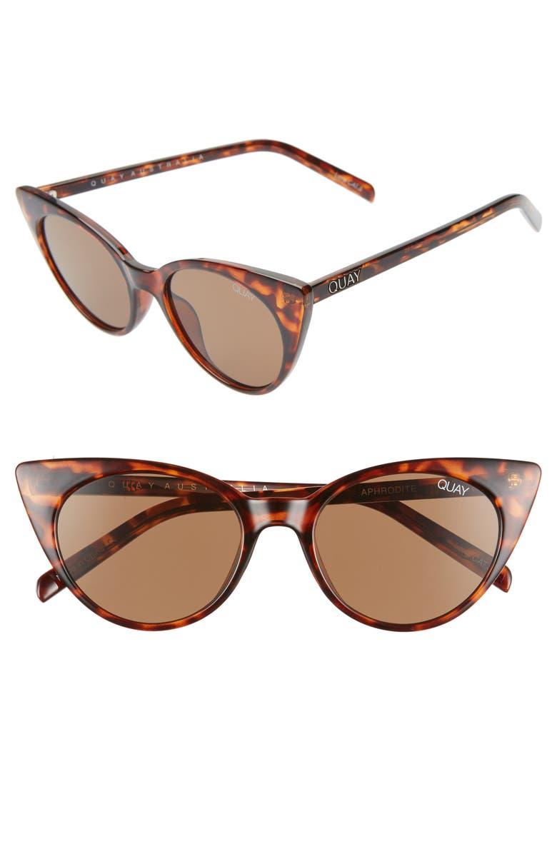 QUAY AUSTRALIA Aphrodite 53mm Cat Eye Sunglasses, Main, color, TORTOISE/ BROWN