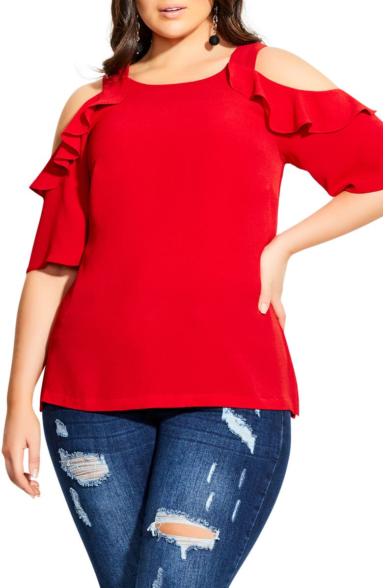 CITY CHIC Wild Sleeve Cold Shoulder Top, Main, color, LUST RED