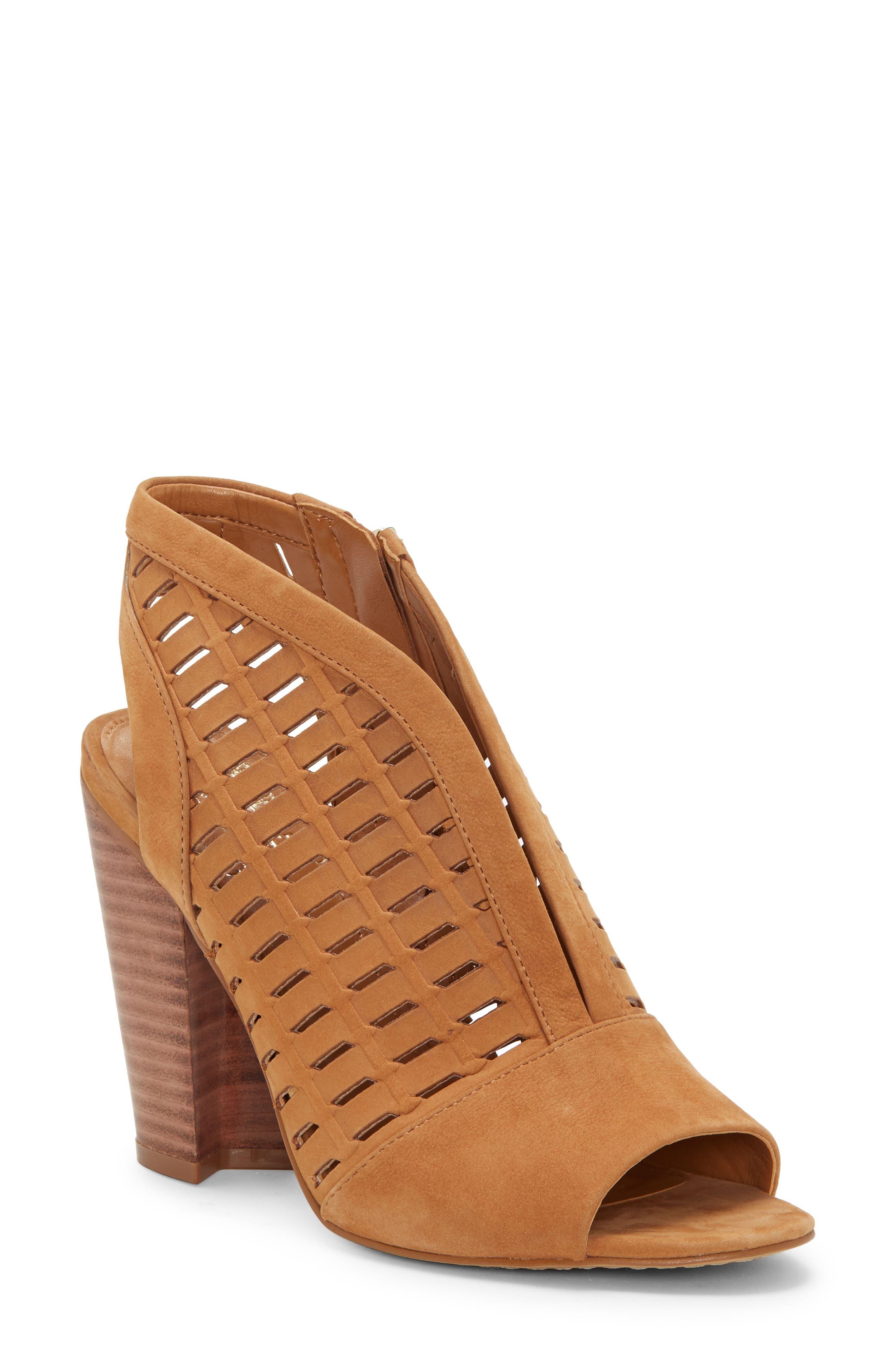 Image of Vince Camuto Korsta Suede Perforated Block Heel Sandal