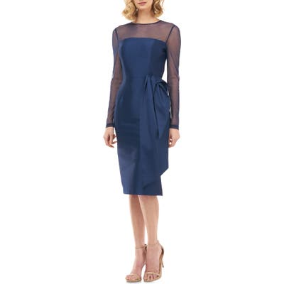 Kay Unger Illusion Neck Long Sleeve Mikado Cocktail Dress, Blue