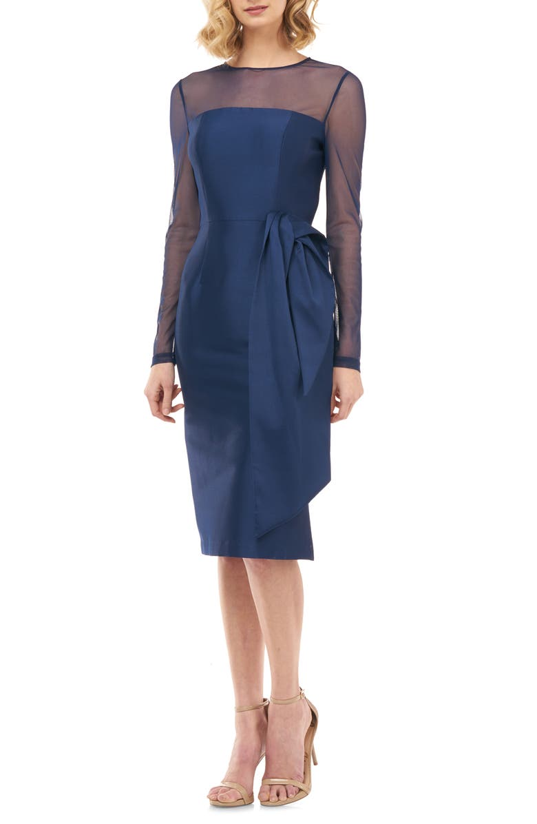KAY UNGER Illusion Neck Long Sleeve Mikado Cocktail Dress, Main, color, NAVY