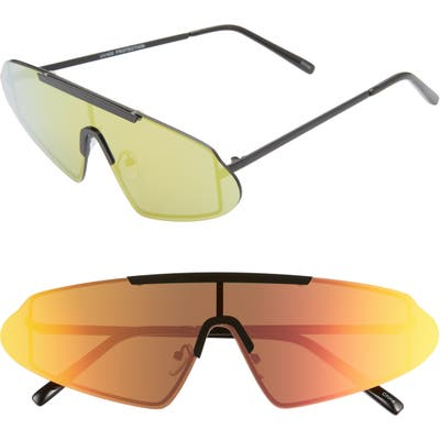 Rad + Refined Mirrored Shield Sunglasses - Black/ Rainbow Mirror