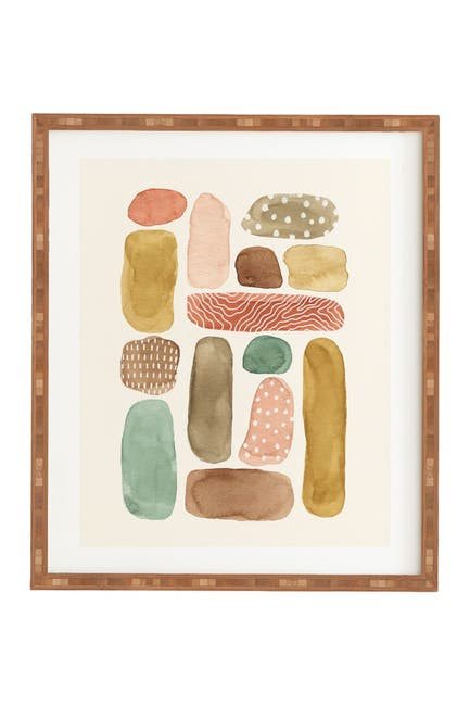 Image of Deny Designs Pauline Stanley Watercolor Beach Pebbles Bamboo Framed Art