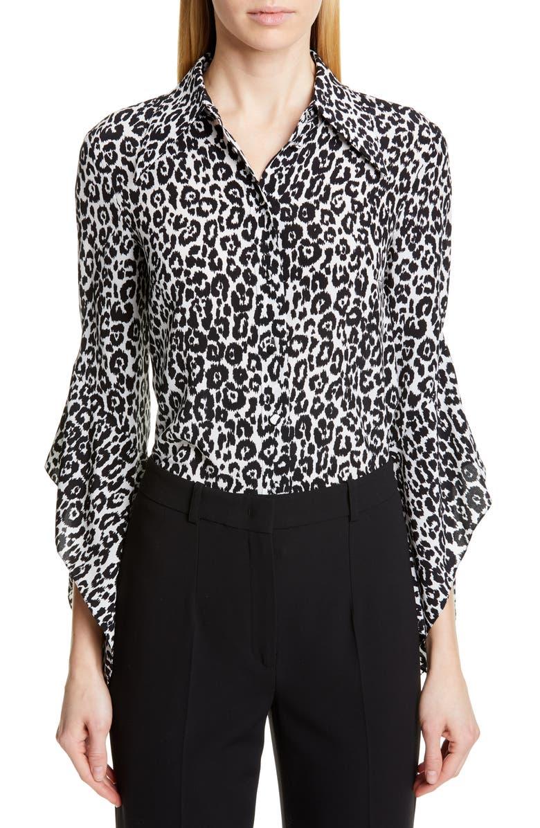 MICHAEL KORS COLLECTION Michael Kors Drape Sleeve Silk Shirt, Main, color, IVORY/ BLACK
