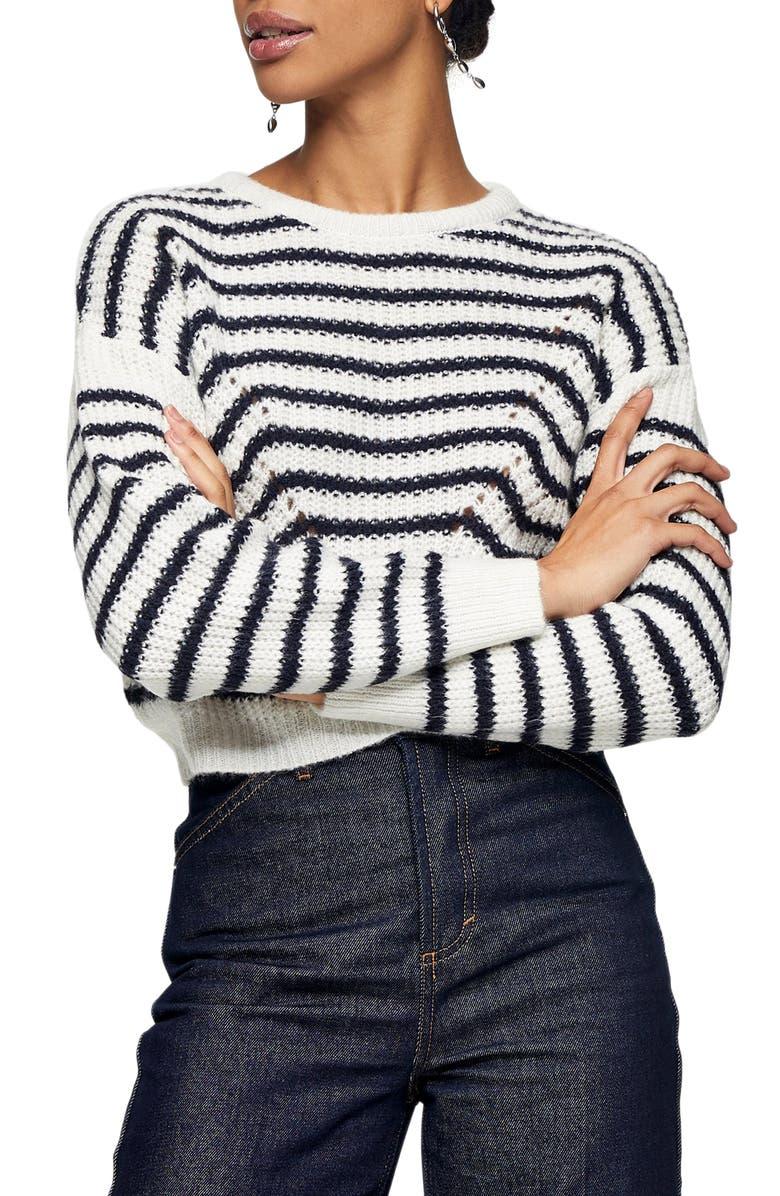 TOPSHOP Stripe Wave Sweater, Main, color, WHITE MULTI