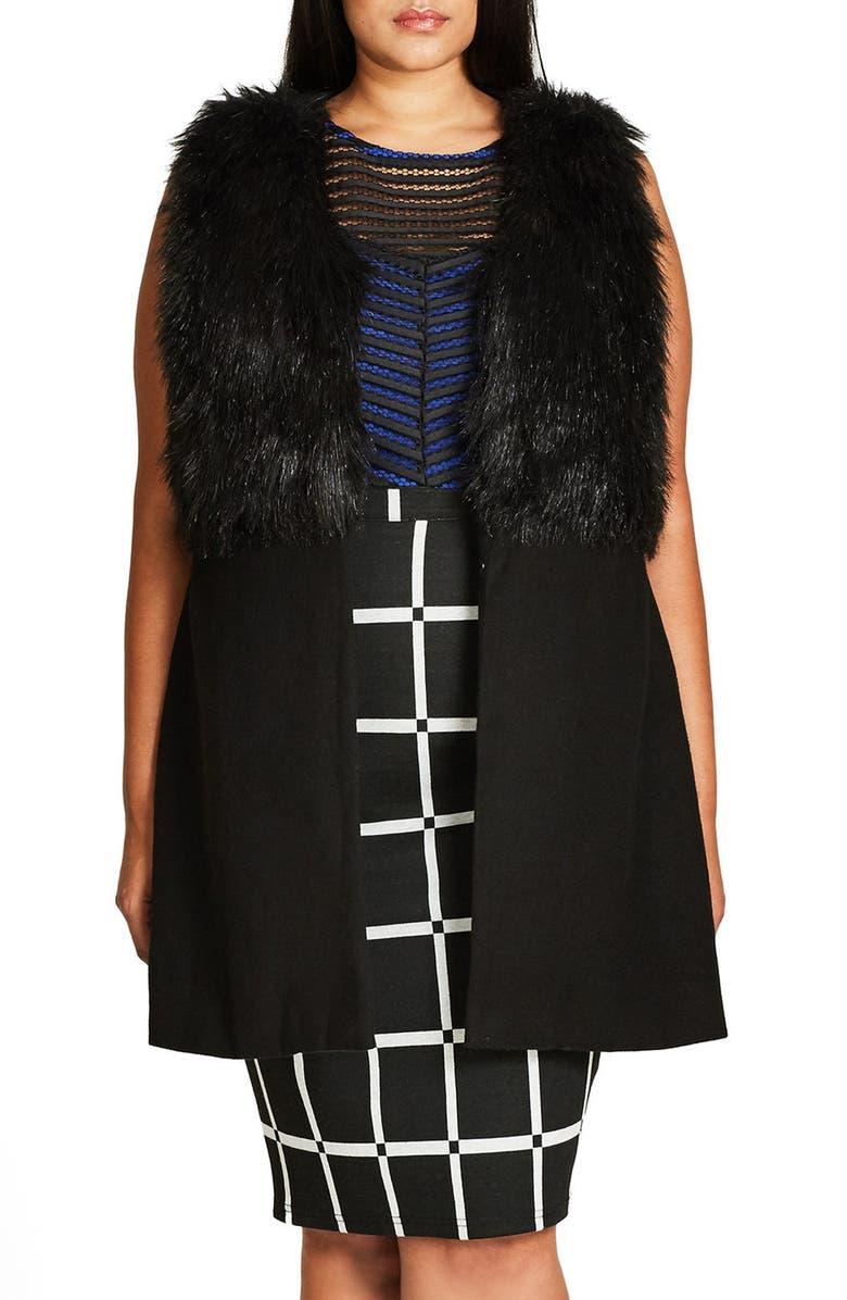 CITY CHIC Rococo Faux Fur Trim Vest, Main, color, 001