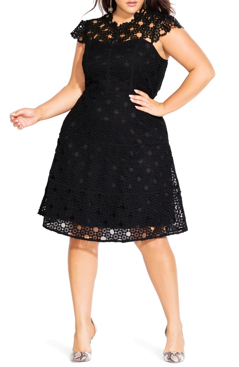 CITY CHIC Lovey Lace Fit & Flare Dress, Main, color, BLACK