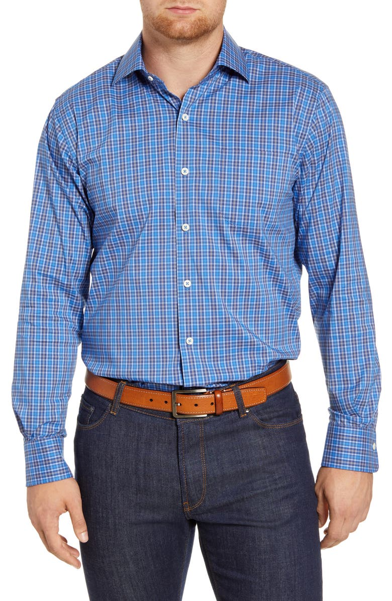 PETER MILLAR Crown Comfort Newberg Regular Fit Check Button-Up Shirt, Main, color, CHESAPEAKE