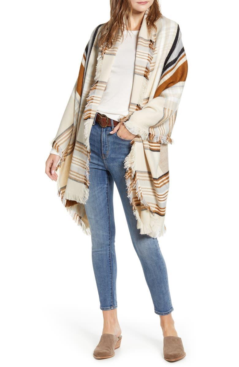 TREASURE & BOND Stripe Blanket Wrap, Main, color, BEIGE COMBO ABBY STRIPE